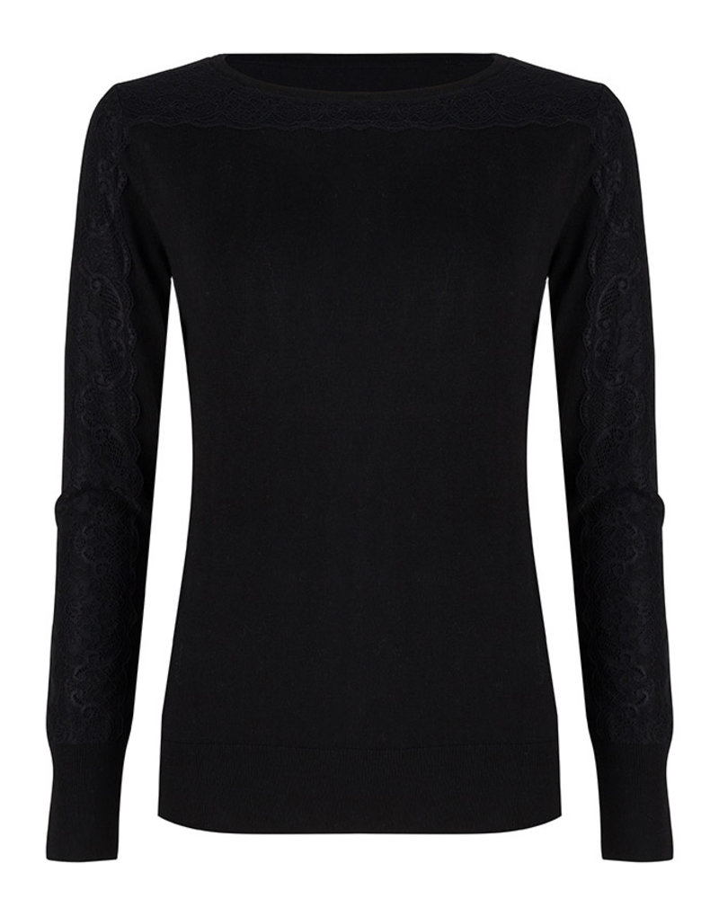 ESQUALO W19.07715 SWEATER LACE SLEEVES BLACK