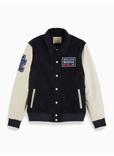 Scotch&Soda 152040 0217 Leather / corduroy varsity jacket