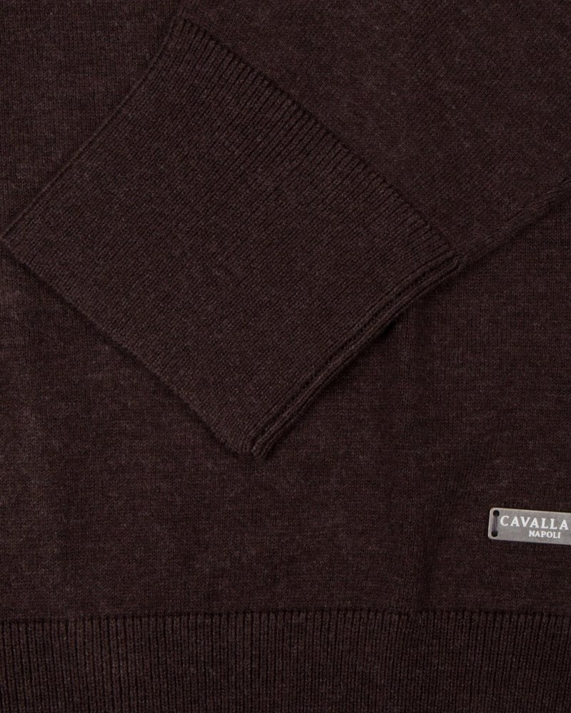 CAVALLARO 1895014 Tomasso V-Neck Pullover 73000 Dark Brown