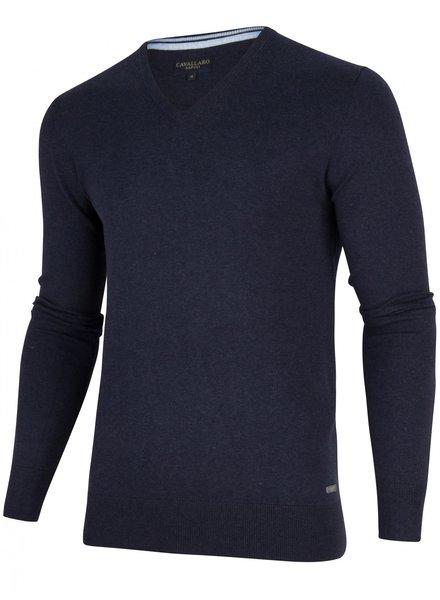 CAVALLARO 1895014 Tomasso V-Neck Pullover 63000 Dark Blue