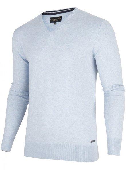 CAVALLARO 1895014 Tomasso V-Neck Pullover 61000 Light Blue
