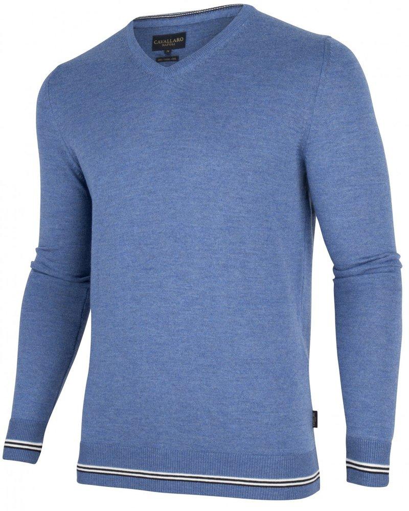 CAVALLARO 1895007 Romagno V-Neck Pullover 61000 Light Blue