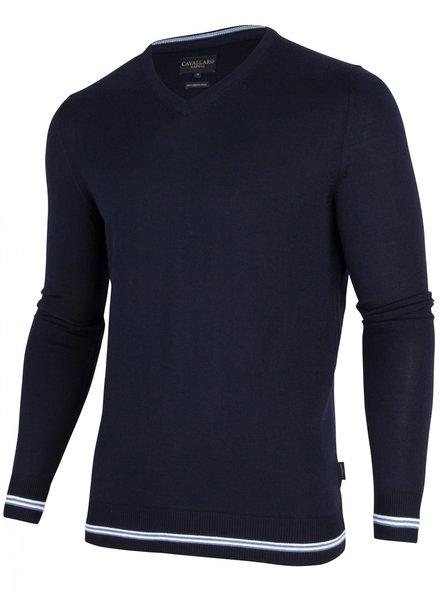 CAVALLARO 1895007 Romagno V-Neck Pullover 63000 Dark Blue