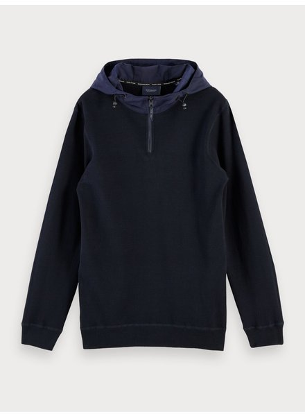Scotch&Soda 153639 Sporty knit with woven hood and side panels
