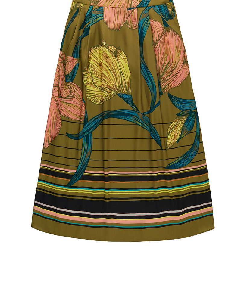 860046 Skirt with gathering in waistband moss
