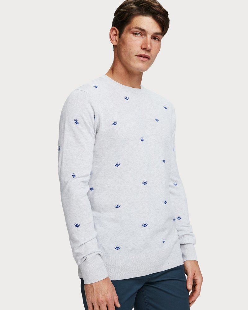 Scotch&Soda 153635 Ams blauw pull with allover print