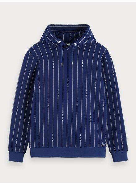 Scotch&Soda 153570 Signature blauw pinstripe hooded sweat