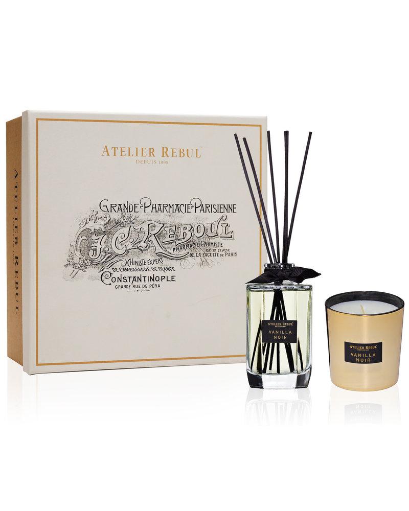 ATELIER REBUL Vanilla Noir Geschenkset met Geurstokjes & Geurkaars