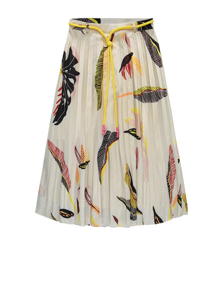 10 FEET 860014 Sunray pleated skirt with graphic leaf print