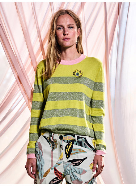 860042 Round neck longsleeve striped pullover moss