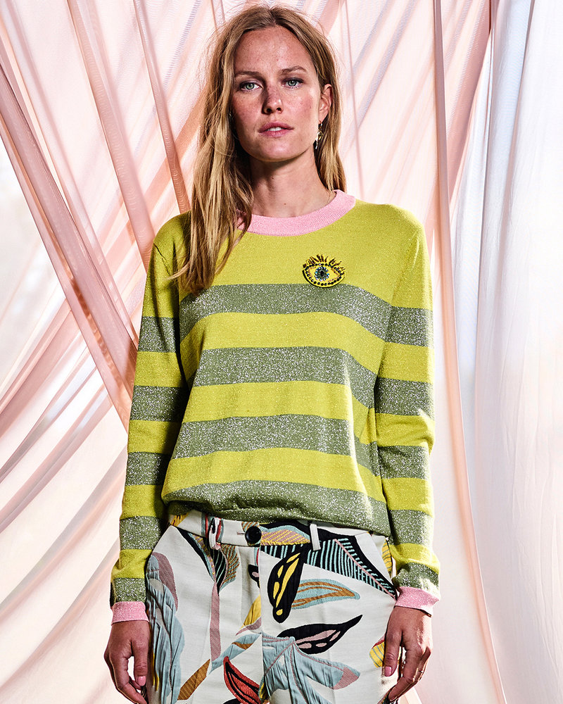 10 FEET 860042 Round neck longsleeve striped pullover moss