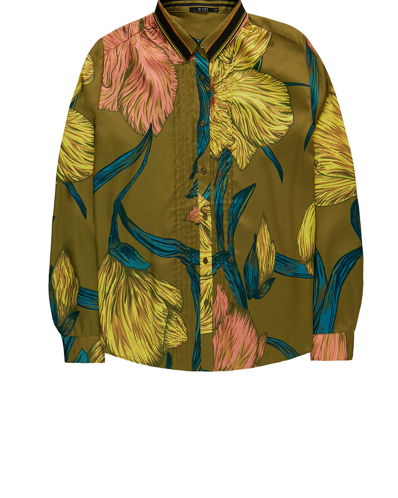 10 FEET 860045 Blouse with pintuck chest detailing moss