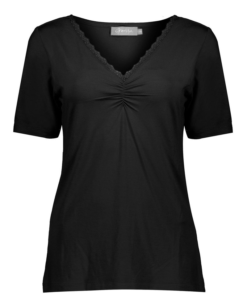 GEISHA 02031-60 LIV SOLID T-shirt solid with lace s/s 000999