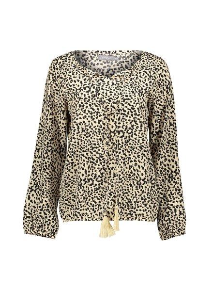 GEISHA 03091-21 Top AOP leopard & cord tassels l/s 000720