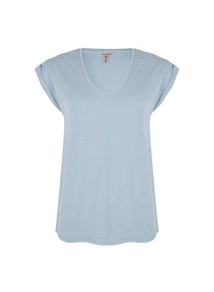 ESQUALO SP20.05025 T-shirt turn up sleeve light blue