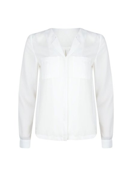 ESQUALO SP20.16030 Blouse basic small chest pockets off white