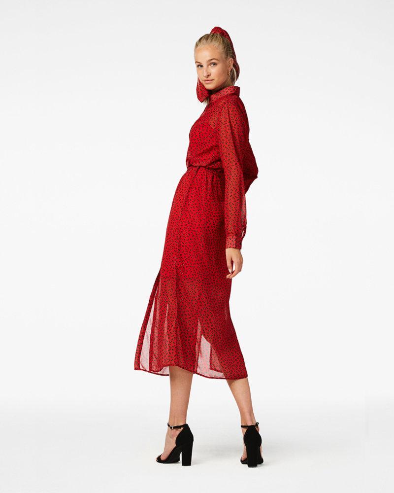 FREEBIRD Harper maxi dress long sleeve red