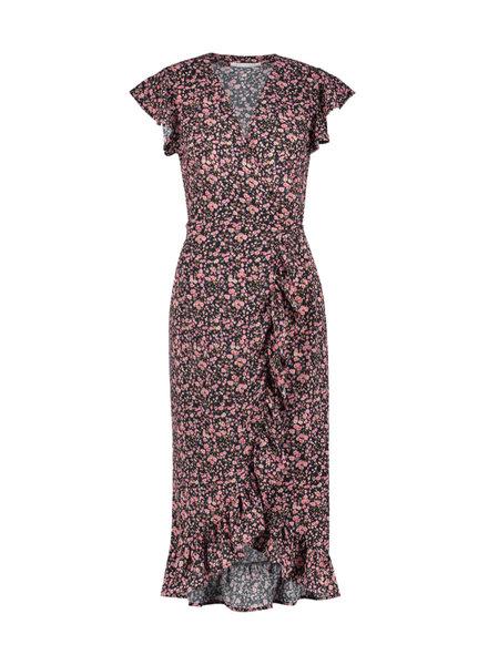 FREEBIRD Rosy long midi dress short sleeve pink