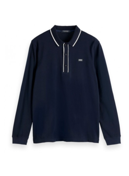 Scotch&Soda 155458 Classic longsleeve pique polo with tipping details 0002