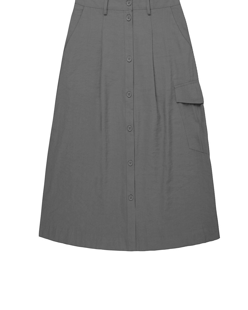860019 Button through skirt with patch pocket charcoal