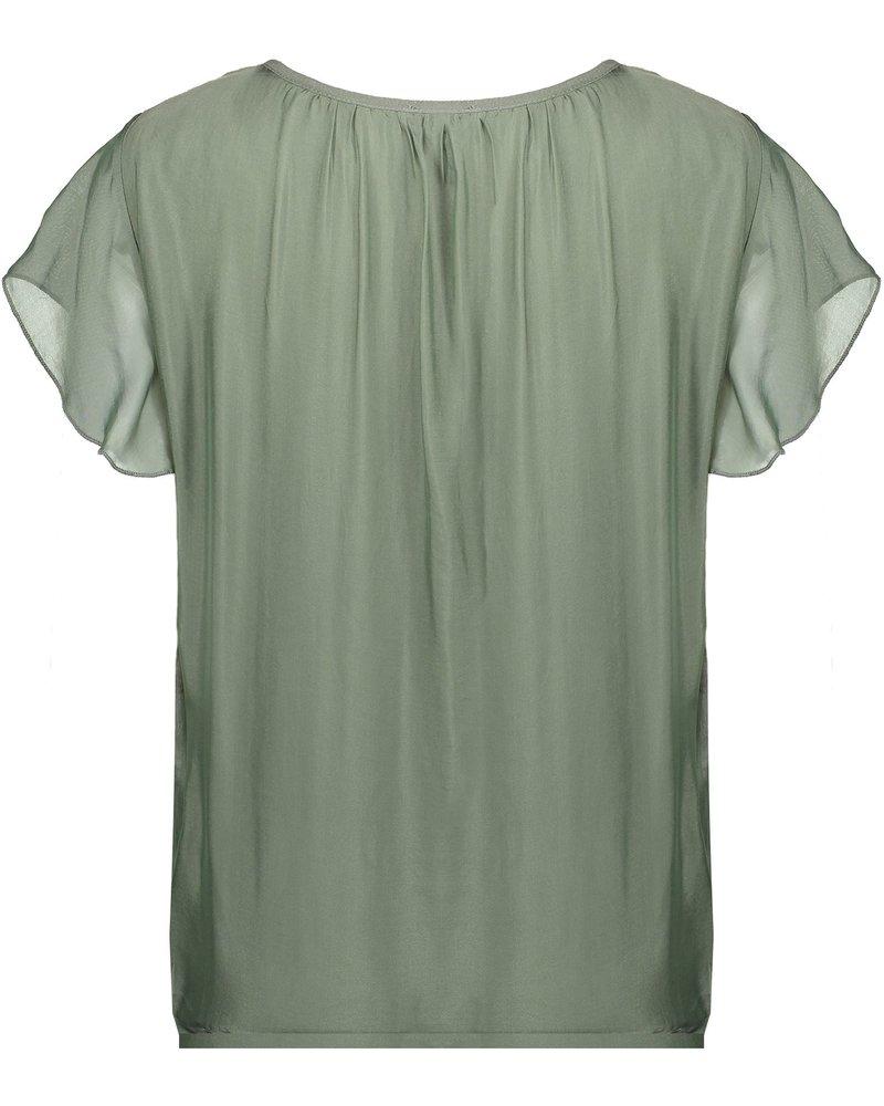 GEISHA 03290-70 Top silk with ruffle s/s 000550
