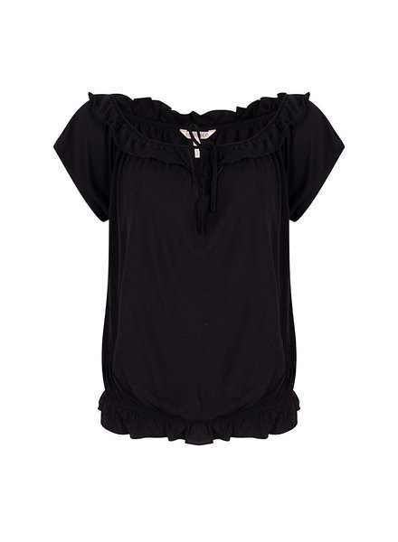 ESQUALO HS20.30222 Top cropped ruffle black