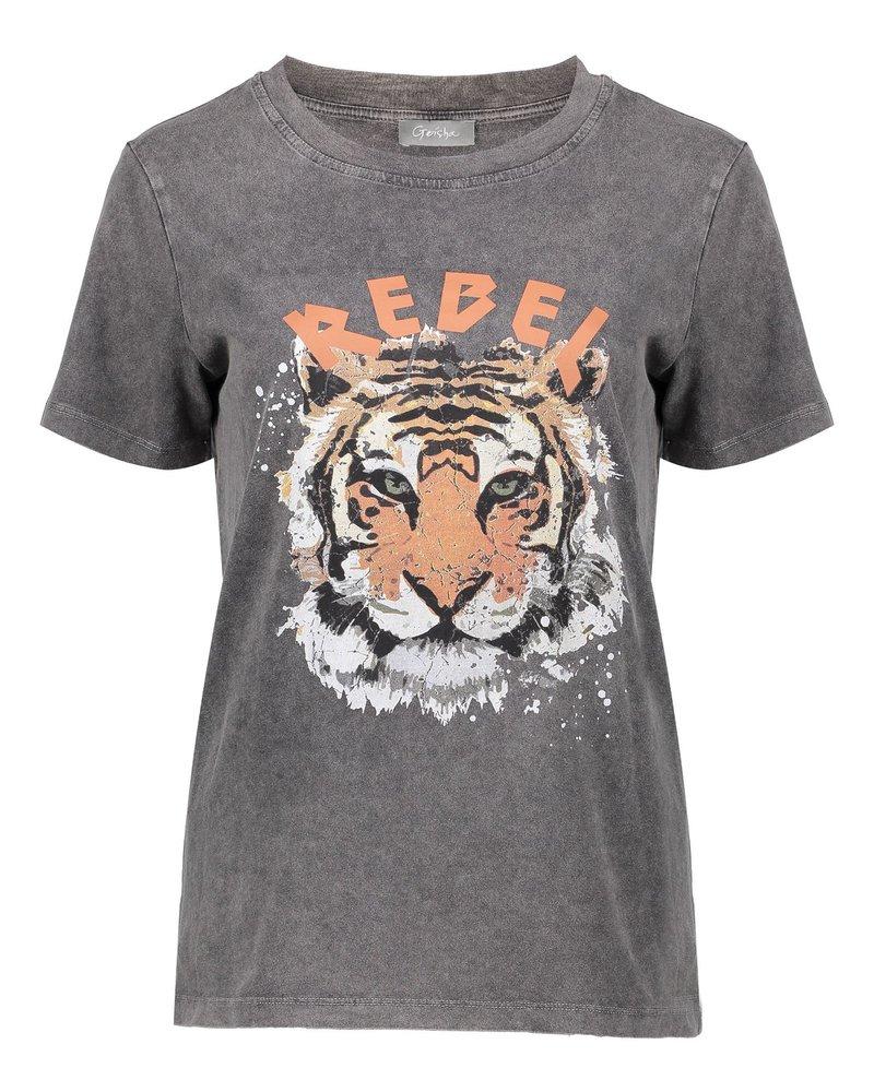 GEISHA 02519-24 T-shirt 'rebel' white tiger s/s grey