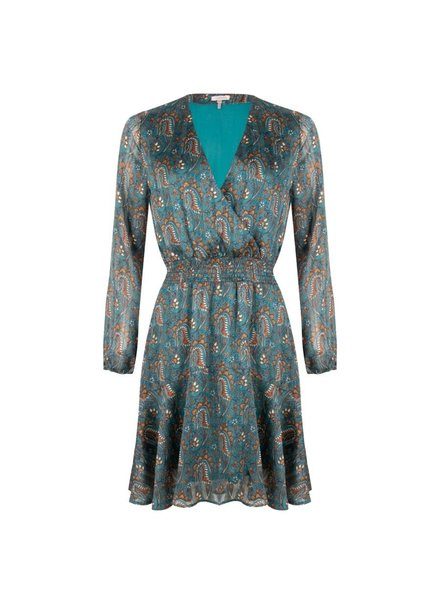 ESQUALO F20.15515 Dress paisley leave print teal blue