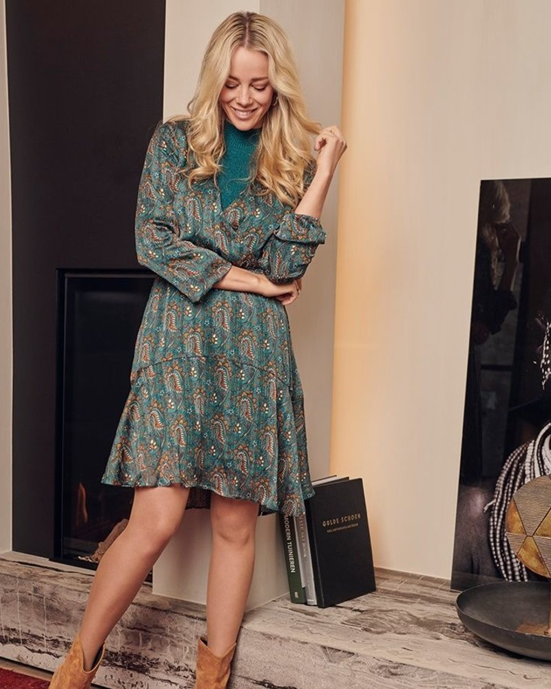 ESQUALO F20.15515 Dress paisley leave print teal blue