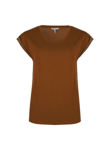 ESQUALO F20.30510 T-shirt turn up sleeve harbor cinnamon