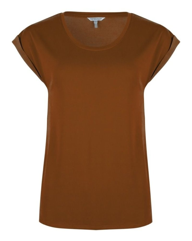 ESQUALO F20.30510 T-shirt turn up sleeve harbor cinnamon