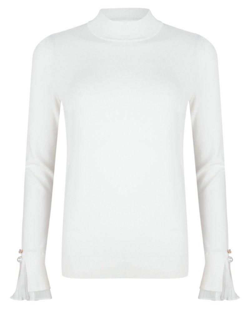 ESQUALO F20.07512 Sweater chiffon plissé cuff off white