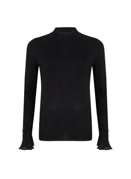 ESQUALO F20.07512 Sweater chiffon plissé cuff black