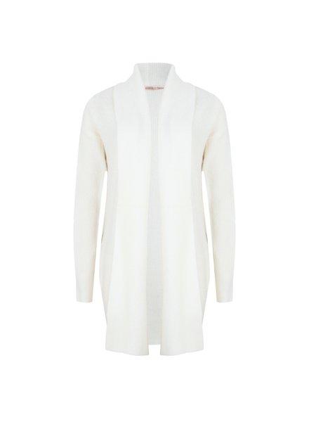 ESQUALO F20.03507 Cardigan wide plckt meet yarn off white