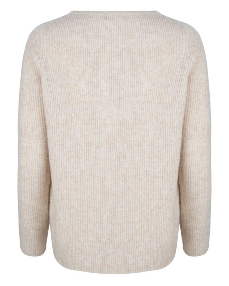 ESQUALO F20.03505 Sweater fancy ribbing beige