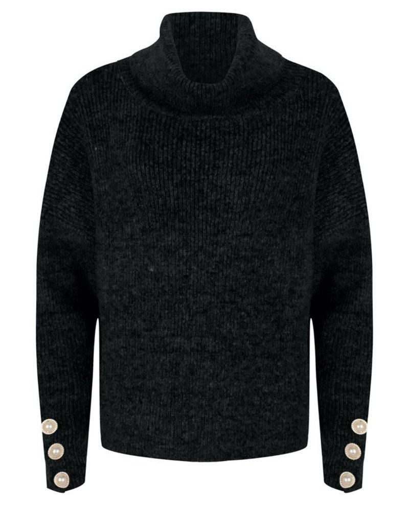 ESQUALO F20.02518 Sweater oversized buttons black