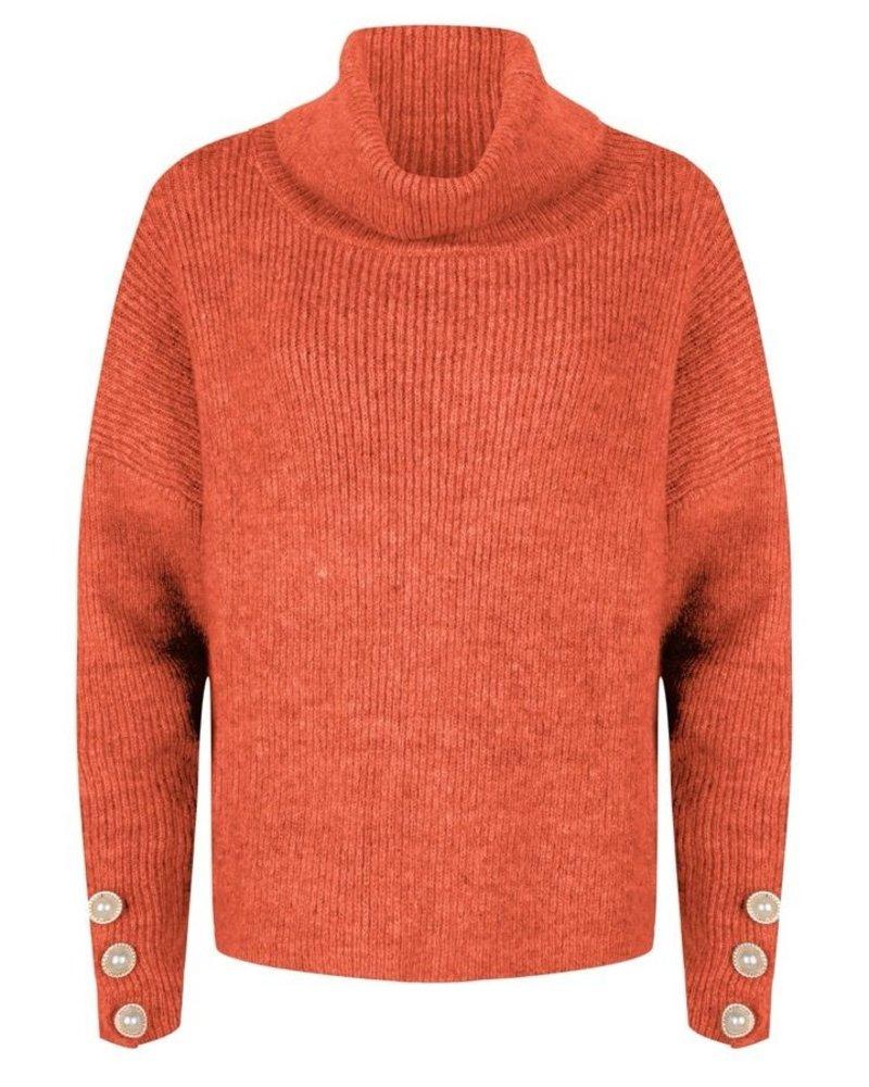 ESQUALO F20.02518 Sweater oversized buttons orange