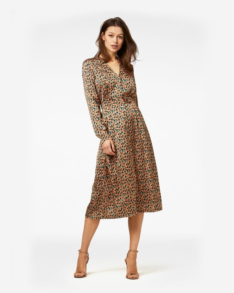 FREEBIRD Stine-brown midi dress long sleeve art-pes-01