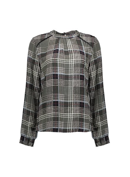 GEISHA 03654-20 Top check l/s black/sand combi