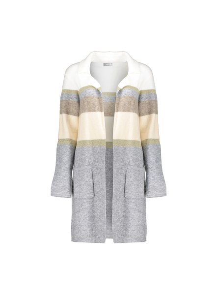 GEISHA 04510-10 Vest long striped camel/grey combi