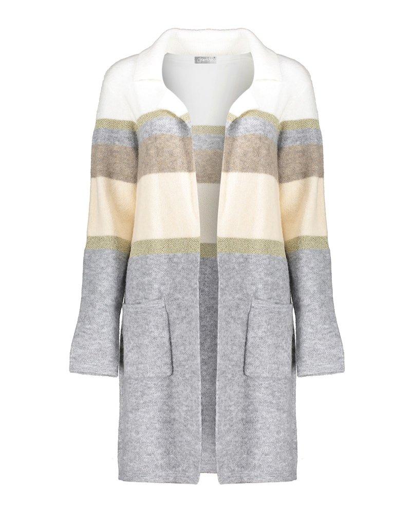 GEISHA 04510-10 Vest long striped camel/grey combi