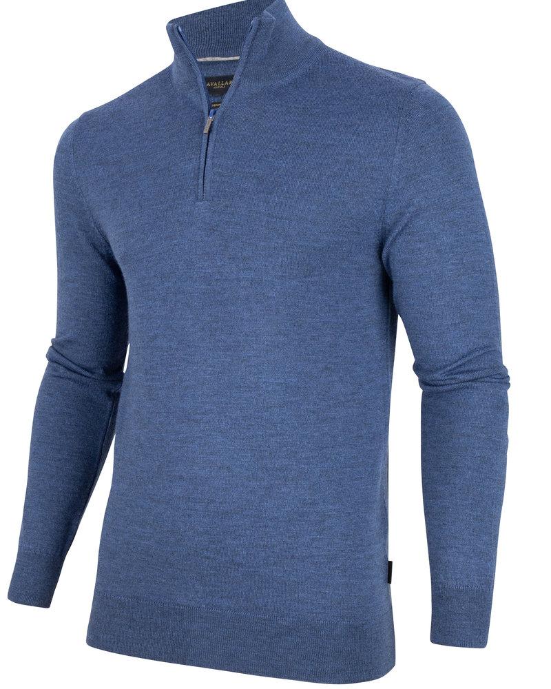 CAVALLARO Merino half zip 118205012 Mid blue 650000