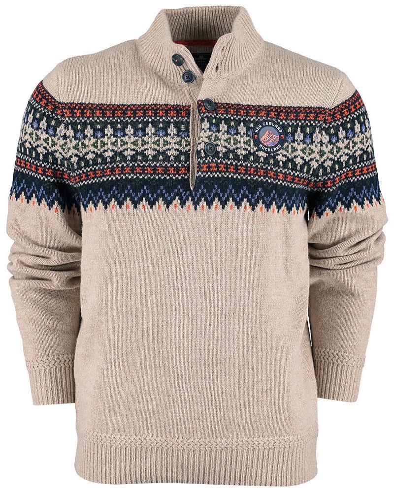 NZA NEW ZEALAND 20KN423 Macarthur pullover button collar 160 Sand