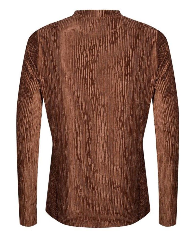 ESQUALO W20.30712 Top col irregular ribbed velvet brown
