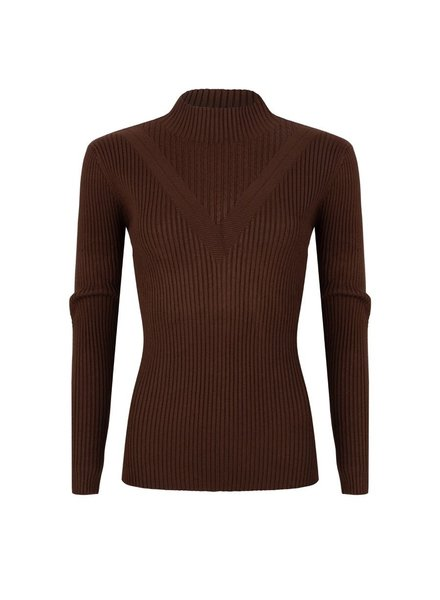 ESQUALO W20.02728 Sweater rib fancy knit chocolate