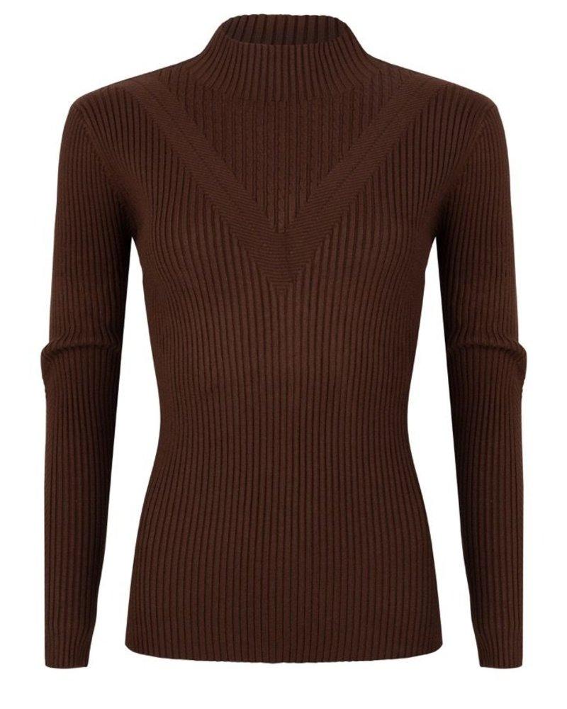 ESQUALO W20.02728 Sweater rib fancy knit chocolate