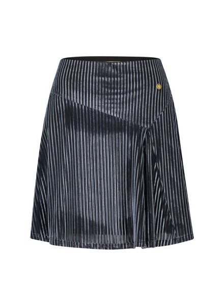 FREEBIRD IGGY - ICE BLUE MINI SKIRT VELVET - STRIPE - PES - 01