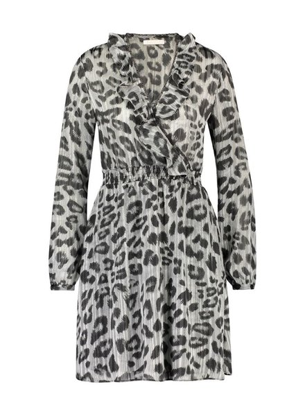 FREEBIRD GIANNA - GREY MINI DRESS LONG SLEEVE LEOPARD - PES 01