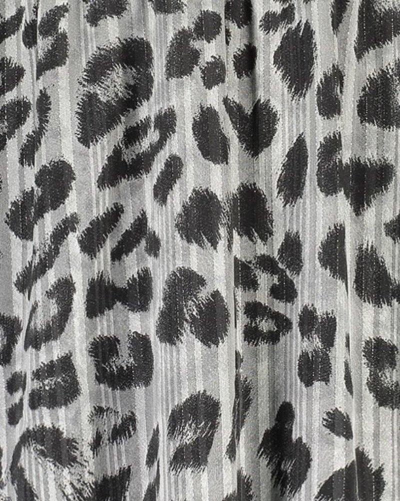 FREEBIRD GIANNA - GREY MINI DRESS LONG SLEEVE LEOPARD - PES 01