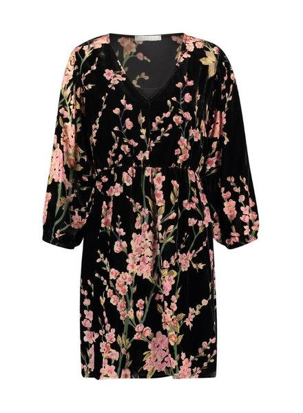 FREEBIRD FLOOR - PINK MINI DRESS 3/4 SLEEVE VELVET FLOWER - PES 01